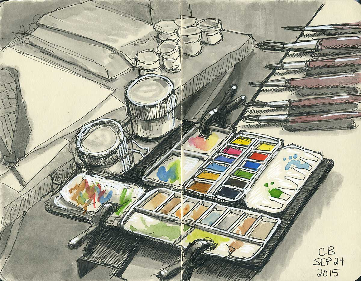 My watercolour palette, desk setup